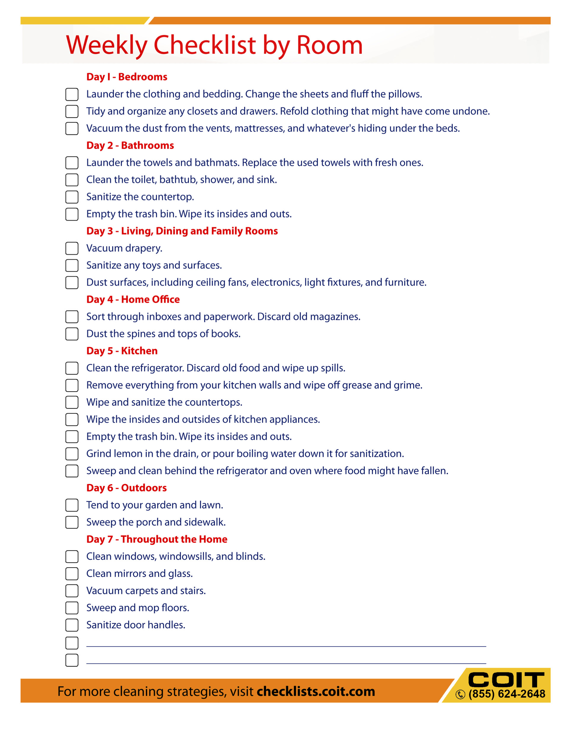 Home Cleaning List Free Printables